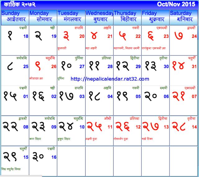 Nepali Calendar 2072 Kartik